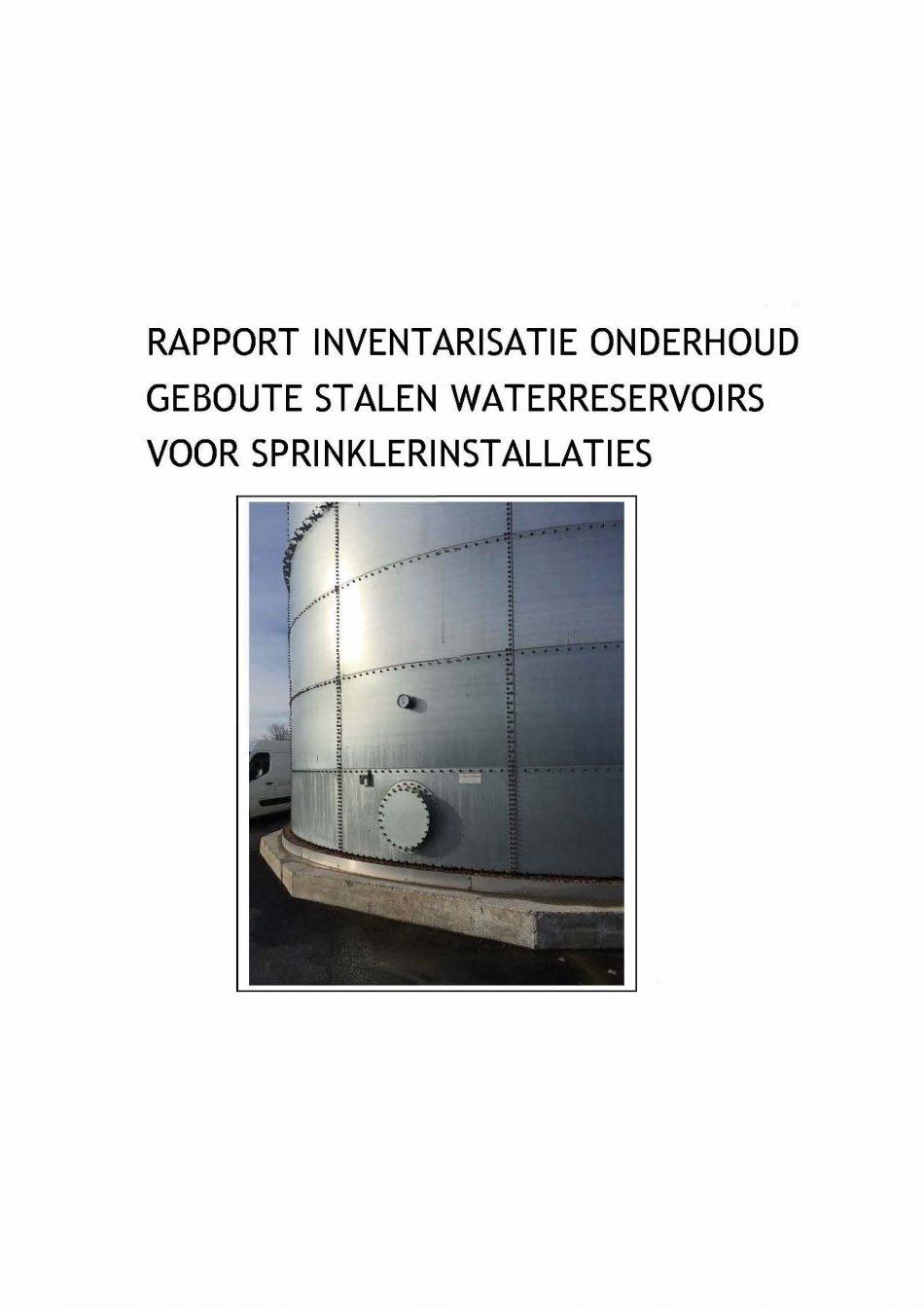 Onderzoek 'rapport inventarisatie onderhoud sprinklertanks' gepubliceerd