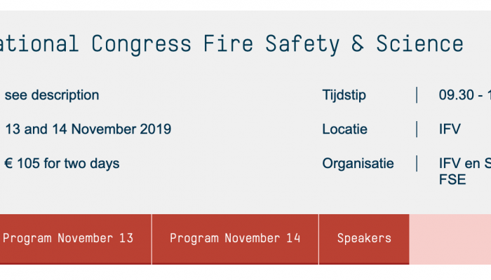 Nationaal Congres Fire Safety & Science IFV op 13 en 14 november